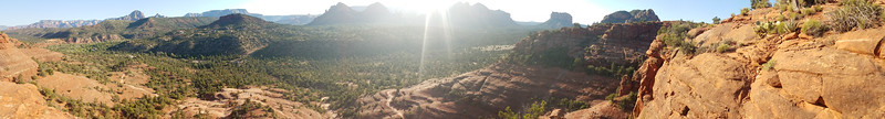 Phone pano from top of Cathedral Rock, daybreak,