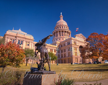 Texas State Capital Building in Autumn