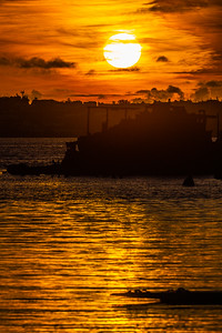 sunset over the pontoons