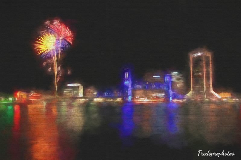 Riverfront at night w fireworks in Jacksonville, Florida