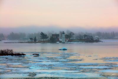 Rock Island Lighthouse on a Foggy Winter Day