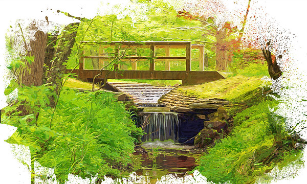 Woodland Bridge over Stream in Watercolor