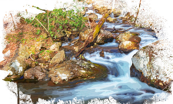 Rushing waters in watercolor
