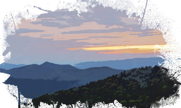 Blue Ridge Sunset in Watercolor