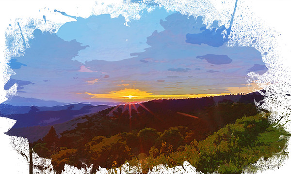 Cowee Sunset in Watercolor