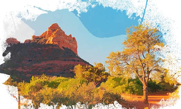 Sedona Red Rock Watercolor