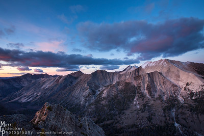 Last Light on D.O. Lee Peak - White Cloud Mountains