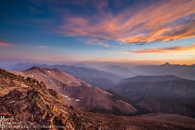 A smoke tinged sunset from Bowery Peak - Boulder Mountains