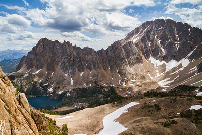 A jagged skyline - Castle Peak, Merriam Peak, & Quiet Lake - White Cloud Mountains.