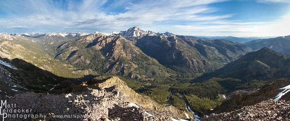 Looking across Germania Creek to Chamberlain Basin and the south side of Castle Peak. Native image dimension - 20 x 48