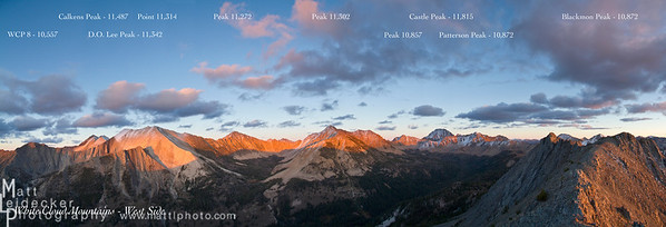 Sunset illuminates the summits of the White Cloud Crest seen from Strawberry Point.  Peak names and elevations included. Native image dimensions - 20 x 58