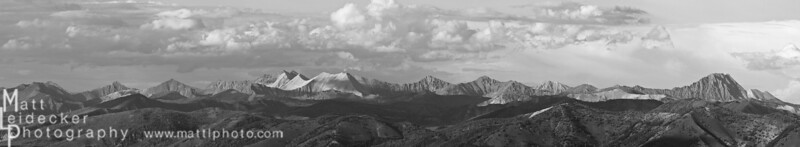 Castle Peak (dark right) and D.O. Lee Peak (white middle) anchor this panoramic perspective of the White Clouds from the Sawtooth range. Native image dimensions - 20 x 108