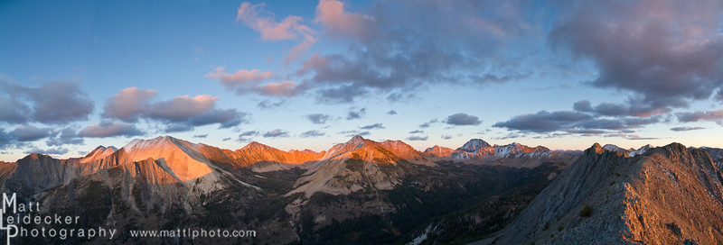 Sunset illuminates the summits of the White Cloud Crest seen from Strawberry Point.<br /> Native image dimensions - 20 x 58