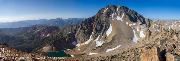 The stunning north face of Castle Peak and Castle Lake from the summit of Merriam Peak. Native image dimension - 20 x 60