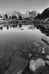 White Cloud Wilderness - Boulder White Cloud Mountains - Black and White reflection of WCP 9 and Calkens Peak.
