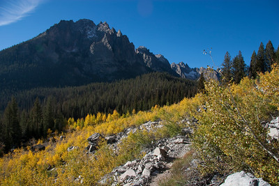 Fall color benath the Grand Mogul in the Sawtooth Mountains.
