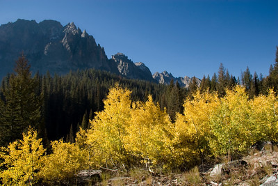 Falls colors highlight Redfish Lake Canyon beneath the Grand Mogul, Sawtooth Mountains.