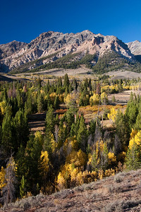 Lightning Point stands above a colorful Silver Creek Basin in the Boulder Mountains.