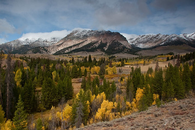 A late September storm drops snow in the high peaks of the Boulder Mountains in late September.