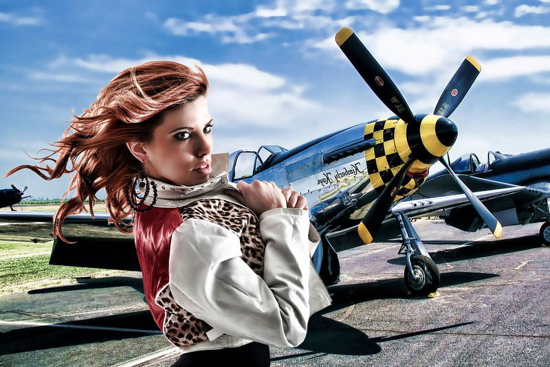 """P51 Mustang"" - color version.  This was created on a whim one rainy day.  I pulled a studio shot of one of my models out to get a little creative exercise.  She was actually shot in a studio and I compiled this images from several shots."