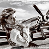 """P51 Mustang"" - antique version.  This was created on a whim one rainy day.  I pulled a studio shot of one of my models out to get a little creative exercise.  She was actually shot in a studio and I compiled this images from several shots."