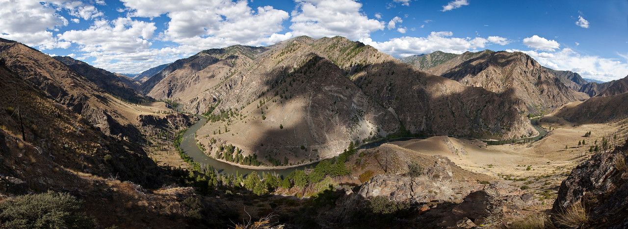 A seeping panoramic view of the Middle Fork as it slips past Wilson Creek, Grassy I & II Camps and turns downstream towards Rattlesnake Cave.