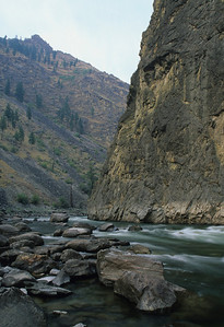 A morning view of Lower Cliffside Rapid from the upstream end of Tumble Camp.