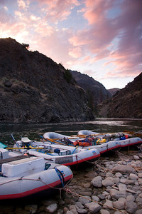 Oar rigs lined up at sunset on the Wollard Gravel Bar.
