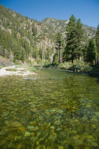 River rock in the tail end of the Dolly Lake pool.