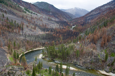Dolly Lake and the upper Middle Fork after the 2007 fire.