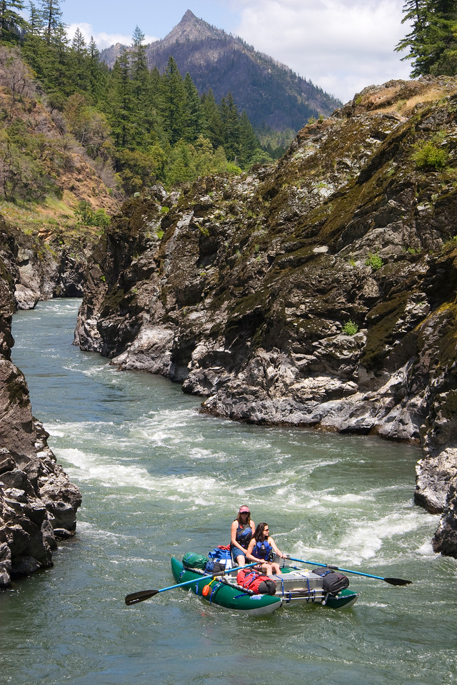 The ladies from the cover of the Rogue River Guidebook enjoy the Mule Creek Narrows above Coffepot Rapid.