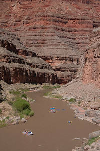 Little boats and big canyon walls.