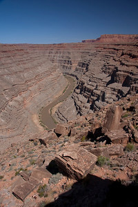 The Honaker Trail climbs all the way to the rim of the canyon where large blocks begin their journey to the river below.