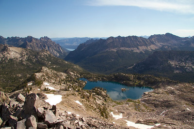 Looking down Redfish Lake Canyon on to Kathryn Lake from the summit of Reward Peak