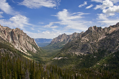 Looking down the classic U-shaped valley of Redfish Lake Creek Canyon.