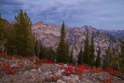 Fall colors at the end of the day near the summit of Observation Peak.