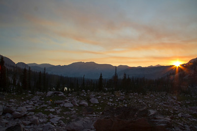 A fiery sunset at the head of Flytrip Basin.