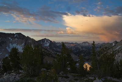 Sawtooth Mountains, ID - Payette Peak and an un-named lake from the Cramer Divide.