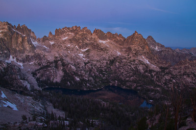 Sawtooth Mountains, ID - Alpenglow on Monte Verita and Big Baron Spire from near the Baron Divide.