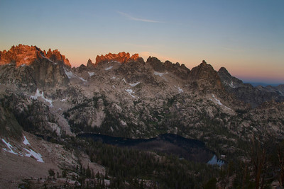 Sawtooth Mountains, ID - The first light on the Monte Verita towers