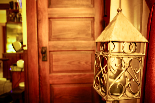 Door, Candle & Curtain