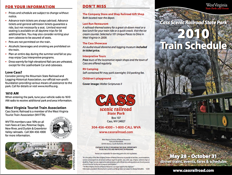 2010 Cass Scenic Railroad Brochure