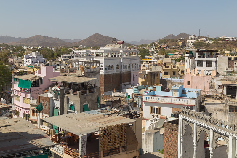 High view of buildings in Udaipur, India