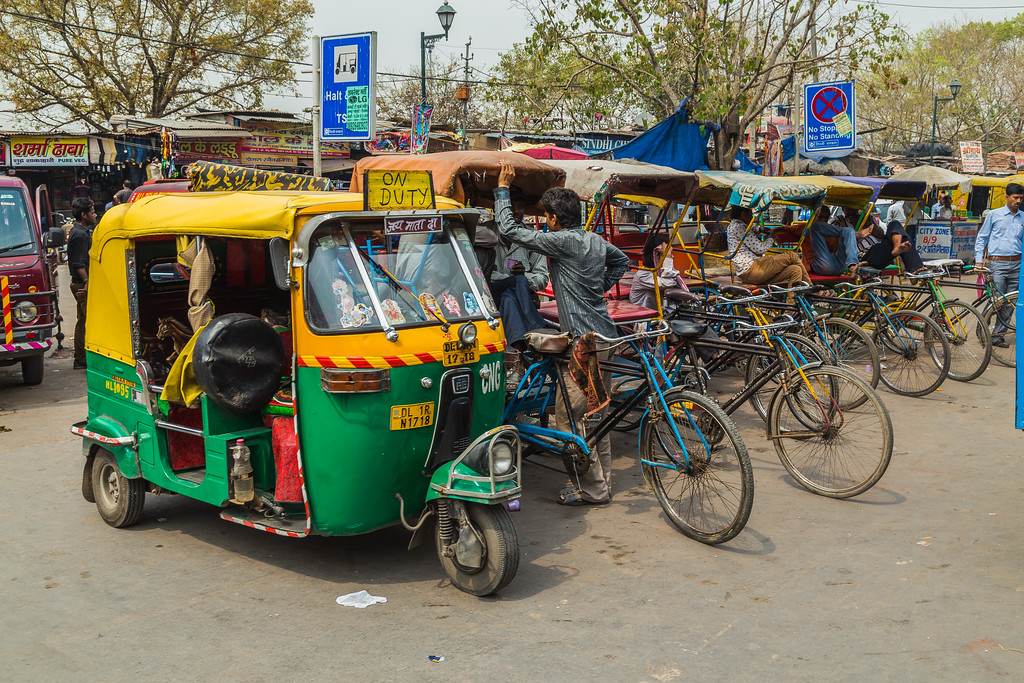 Tuk Tuk Rickshaws in Delhi During the Day