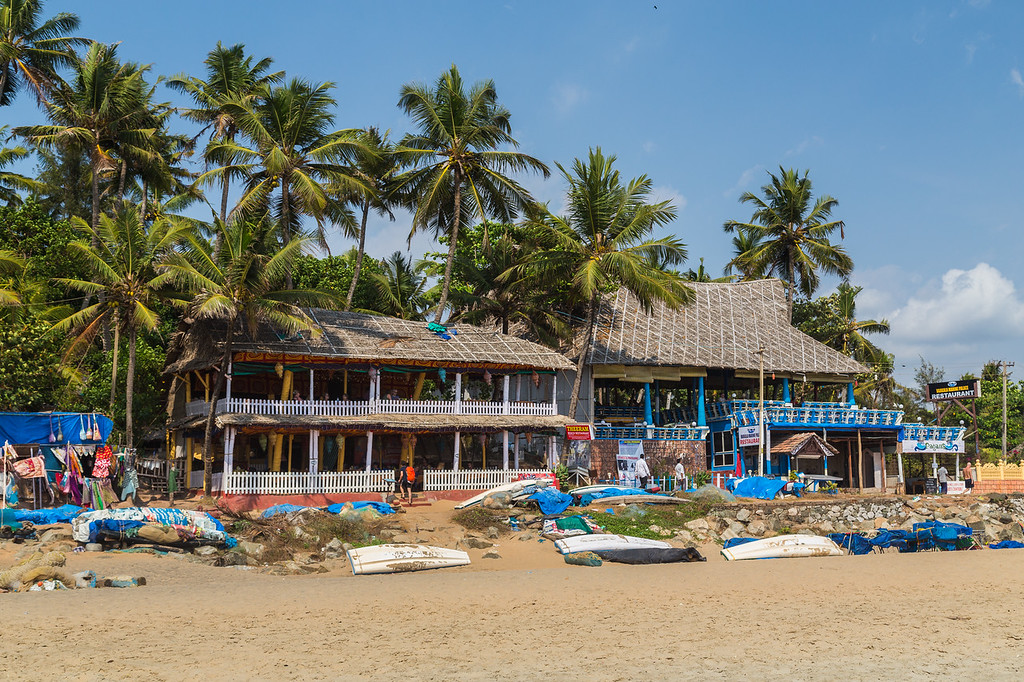 Restaurants along Varkala Beach in South India