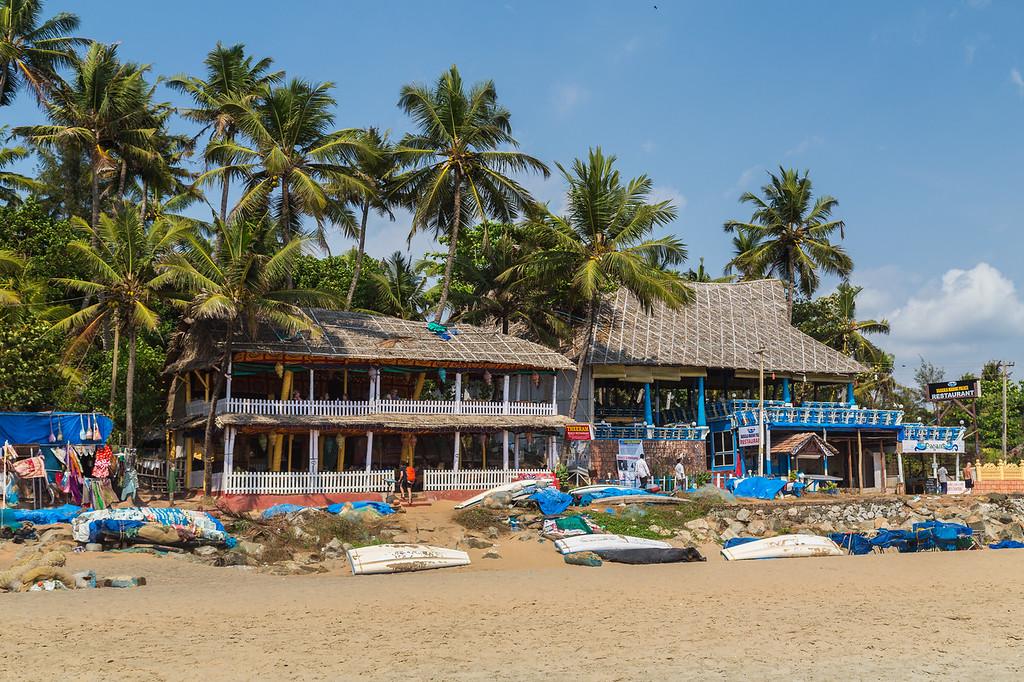 Restaurants along Varkala Beach in South India