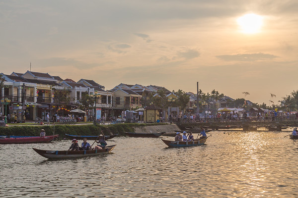 People and boats in Hoi An