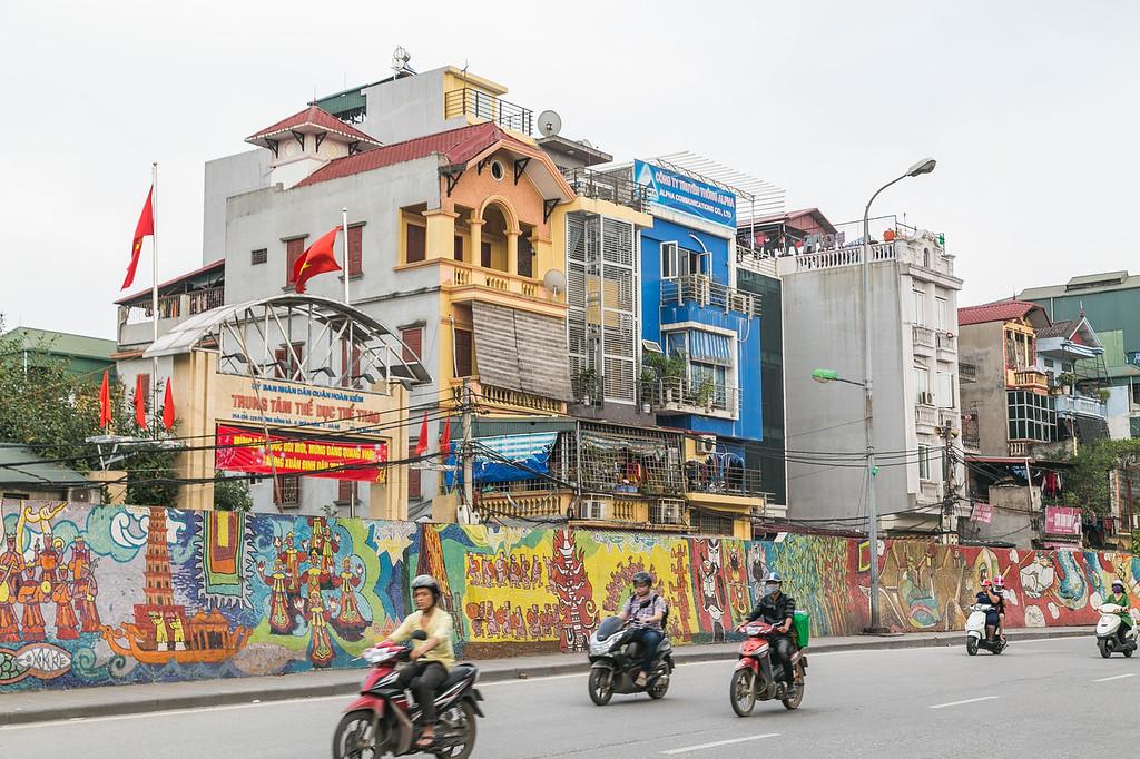 Roads in Hanoi, Vietnam during the day