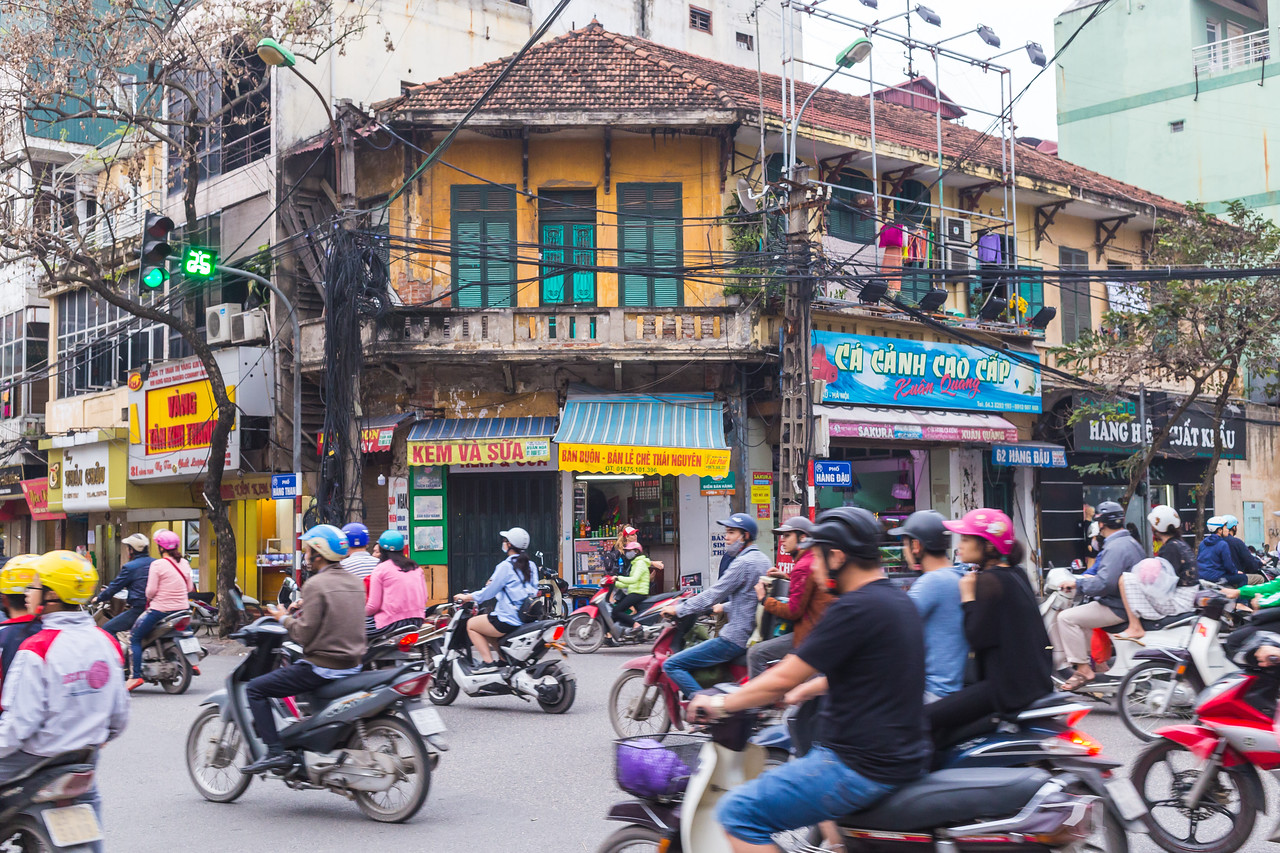 Busy Traffic in Hanoi, Vietnam