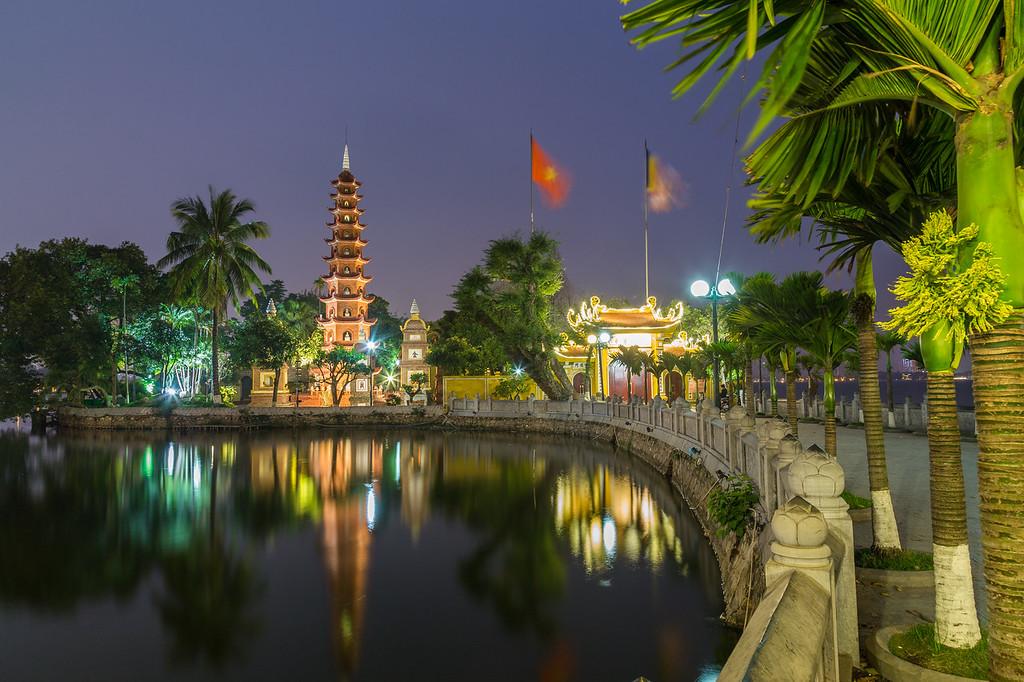 Tran Quoc Pagoda in Hanoi at night